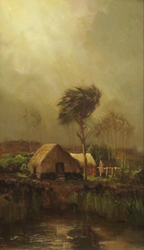'Grass_Shack_on_a_Shore,_Vicinity_of_Hilo'_by_Charles_Furneaux,_c._1890s,_Honolulu_Museum_of_Art