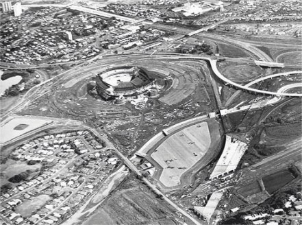 Halawa Stadium, above, under construction in 1974-(star advertiser)