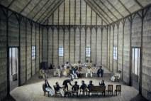 Hale Kauila in Honolulu-meeting of King Kamehameha III and Kinau with the French Captain Du Petit Thouars-(Nahienaena_is_in_attendance)-(WC)-1837