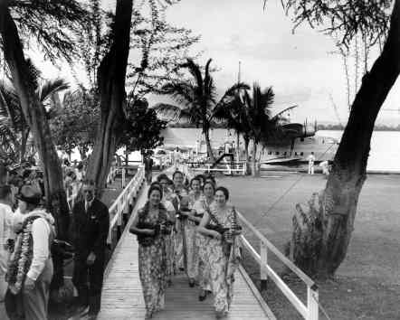 Hawaiian musicians who performed at the christening of the Pan American Hawaii Clipper, Pearl Harbor-PP-1-9-003-1936