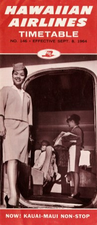 """Timetable issued by Hawaiian Airlines (No. 146, """"Effective September 8, 1964""""). The cover features a boarding scene showing a man seated and looking out the plane door, a stewardess standing behind him holding newspapers, and another stewardess standing at the door to greet passengers. Inner pages feature timetables, fare tables, and a route map."""