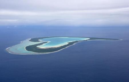Heart-shaped Tupai Island in French Polynesia