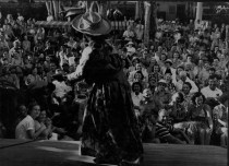 Hilo Hattie doing the hula, Hawaii Calls, Banyan Court, Moana Hotel-PP-33-5-043-1950s