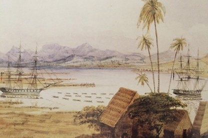 Honolulu Harbor-Ships pulled by canoes-Henry Walker-1843