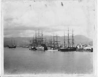 Honolulu Harbor Wilder's Steamship Company structure on far right-(HSA)-PP-39-10-026-1890