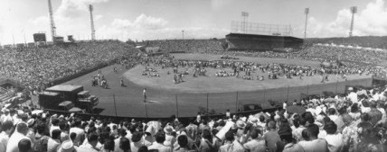 Honolulu Stadiuim-Statehood celebration at the old Honolulu Stadium. March 13,1959