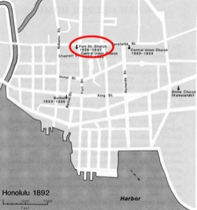 Honolulu-(centralunionchurch-org)-1892-Fort_Street_Church-beginning_of_McKinley_School-in_basement