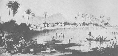 'Honolulu_Beach'-would_later_become_the_area_from_Pier_5_to_Fort_Armstrong-Burgess-(SagaOfTheSandwichIslands)-mid-1850s