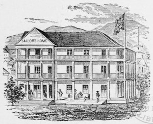 Honolulu_Sailor's_Home-Sketch of original 1855 building-WC-400