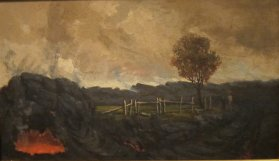 John_Hall's_grass_house_after_the_lava_came_upon_it-1880s