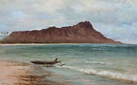 Joseph_Dwight_Strong_-_'View_of_Diamond_Head',_oil_on_canvas-1880s