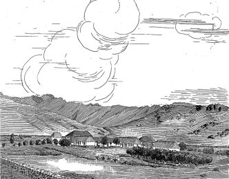 Kaahumanu Wall is on the left in this drawing of Punahou School-(MasonArchitects)-1848