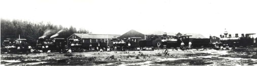 Kahului Railroad engines line up for a picture taking session in 1911.
