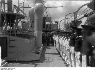 Kaiser Wilhelm II inspecting the crew of the German cruiser SMS Geier