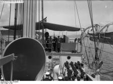 Kaiser Wilhelm II visiting the German cruiser SMS Geier