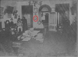 Kalakaua, King of Hawaii, 1836-1891, in his library in Iolani Palace-telephone_on_wall-(HSA)-PP-96-15-007