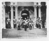 Kalakaua, King of Hawaii, 1836-1891, with his staff on steps of Iolani Palace-PP-96-13-007-1882