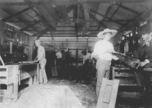 Kamehameha School for Boys-Students working in the Carpentry Shop, 1890, (right) Rev. Wm. Oleson, Principal, (far left) Charles E. King-(WC)