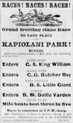 Kapiolani_Park_Horse_Race_Ad-April 30, 1881