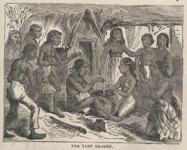 Kapu-Liholiho_eating-with-women-Mark-Twain-Roughing-It-