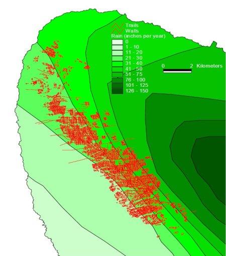 Kohala Field System-walls-trails-map-Vitousek