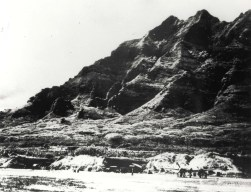 Kualoa Airfield by Chinaman's Hat with P-38 in camouflage.
