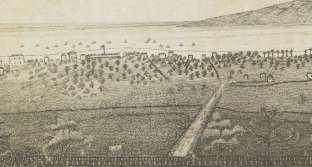 Lahaina as seen from Lahainaluna-(portion_Lahainaluna_engraving)-1838