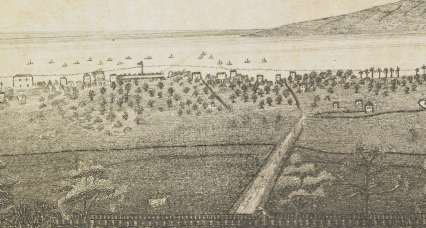 Lahaina as seen from Lahainaluna-(portion_Lahainaluna_engraving)-1838