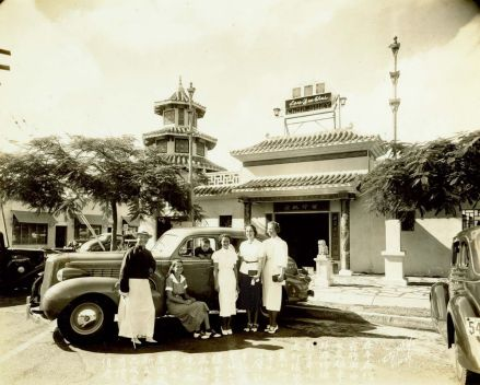 Lau-Yee-Chai-restaurant-P.Y. Chong (left), his son (in the car)-1937-BM