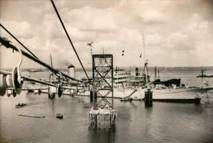 Loading the HAW-1 Cable linking Point Arena, California with Hanauma Bay-1957