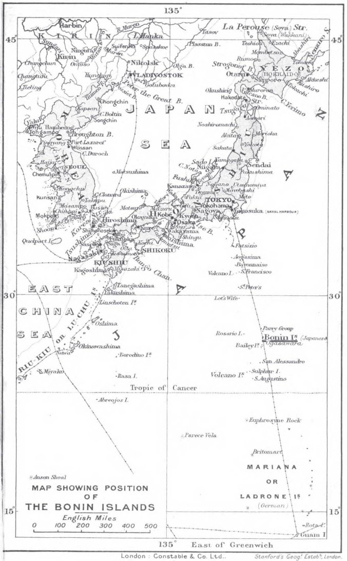 Map Showing Position of the Bonin Islands