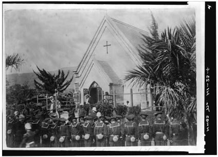 Mourners crowded at King Kalakaua's funeral at Mauna Ala