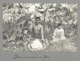 Native_Hawaiian_man_pounding_taro_into_poi_with_two_children_by_his_sides-(WC)-c._1890s