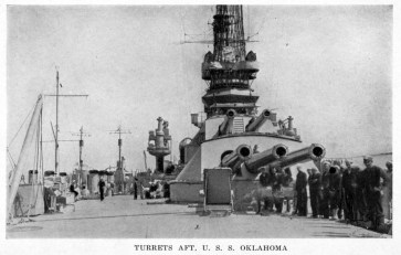 Oklahoma-Looking forward from near the ship's stern, showinng her after 14guns, circa 1918-1919