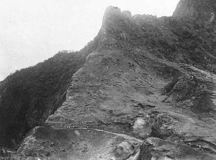 Pali Road and cliffs, Honolulu, Hawaii ca. 1883-85. Photographer-Vandis Expedition-(BM)