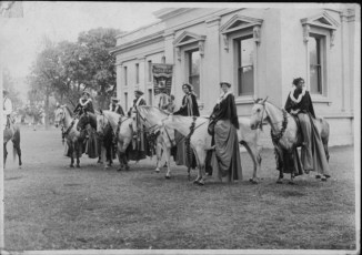 Pa'u riders in front of the Kanaina Bldg., Iolani Palace Grounds-PP-34-3-002