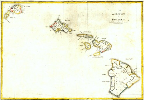 A map of Hawaii printed in 1837 by students of Lorrin Andrews at Lahainaluna