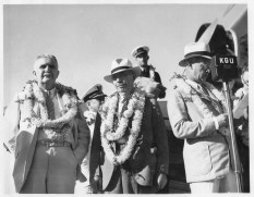 Postmaster Chillingworth (L) Gov Poindexter (M) Harold Dillingham (R) inaugural of inter-island air mail PP-1-4-003-Oct 8, 1934