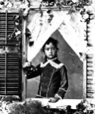 Princess Kaiulani at approximately 6 years old, standing, framed by window-1881-600