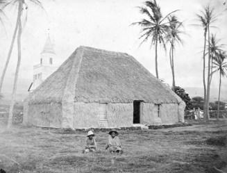 Princess Keelikōlani's hale pili (grass house) in Kailua, Kona, Hawai'i. ca 1883_Hulihee_Palace-WC