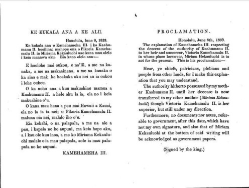 Proclamation-by-Kamehameha-III-naming Kekauohi-Kuhina Nui