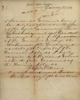 Provisional Government - Letter of recognition from United States Minister, John L. Stevens - January 17, 1893