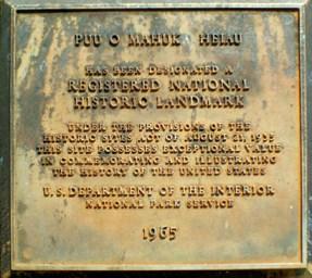 Puu O Mahuka Heiau-plaque