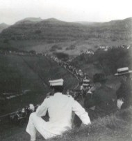 Residents gather to watch the first flight in Hawaii by Bud Mars