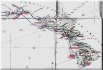 Routes of the Steamship companies Wilder's_routes-(green lines) and Inter-Island-(blue lines) -1890