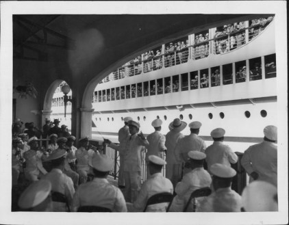 Royal Hawaiian Band at dockside on departure of the Lurline-PP-4-4-044-1935