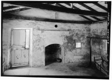 SOUTH ROOM, FIRST FLOOR, REAR WALL, SHOWING FIREPLACE AND DUTCH DOOR - Mission Frame House-(LOC)-1966