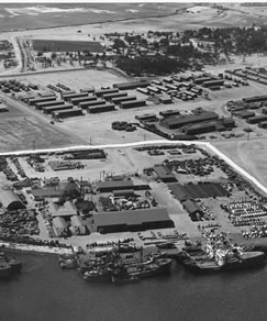 Sand Island, 1946. What remains of the internment camp can be seen in the middle portion of the image.