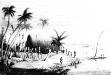 Sketch of Hale-o-Keawe by Dampier, 1825