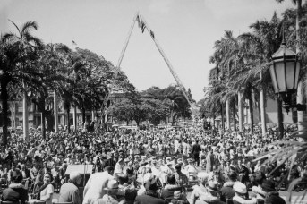 Statehood-cranes in the background hoisted the American and Hawaii flags-(HSA)